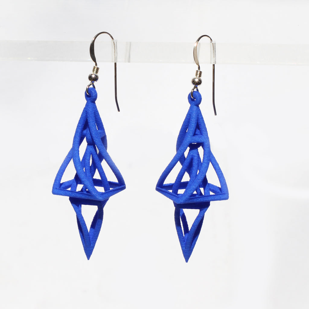 Twist 3D Printed Earrings Blue