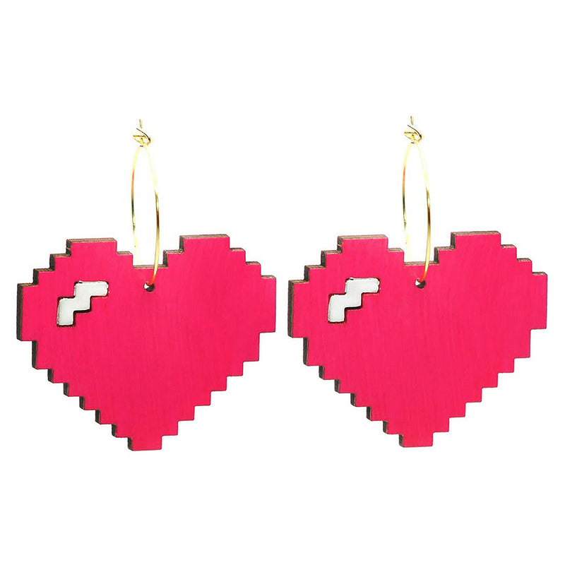 Pixelated Heart Hoop Earrings