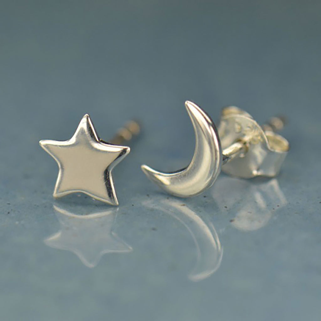 Ara Moon and Star Post Earrings Silver