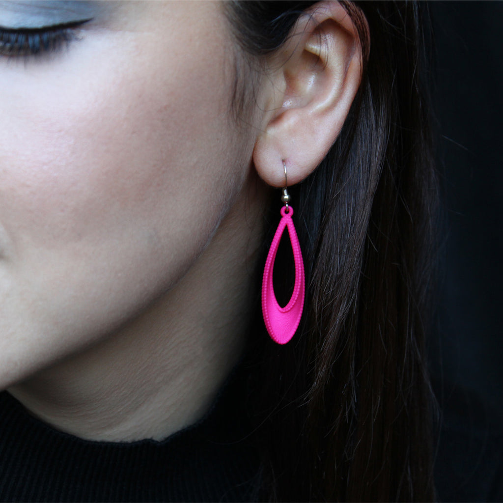 Mobius 3D Printed Earrings Pink