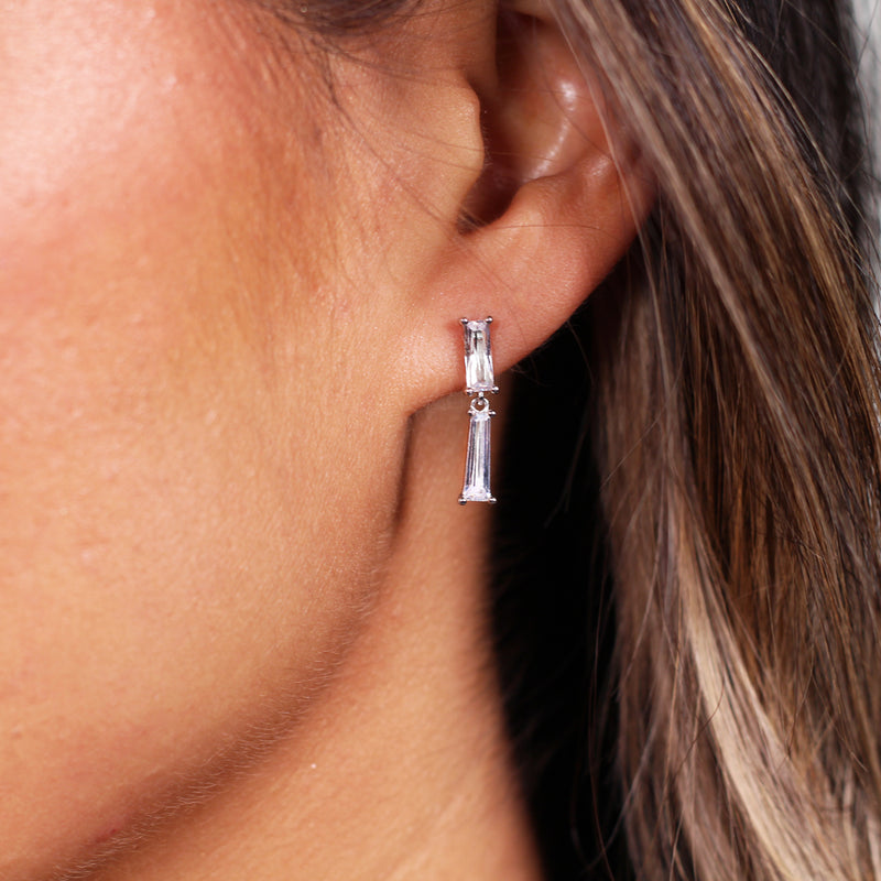 Baguette CZ Dangle Earrings