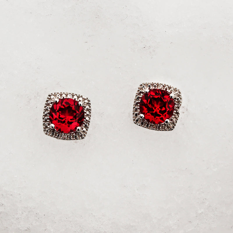 Lab-Grown Ruby and Diamond Silver Earrings