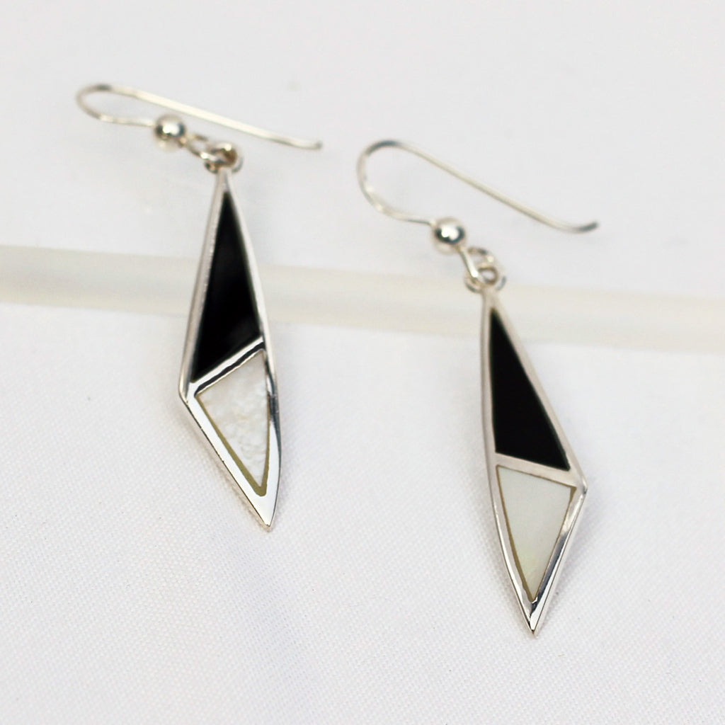 Black Onyx and Mother of Pearl Sterling Silver Earrings