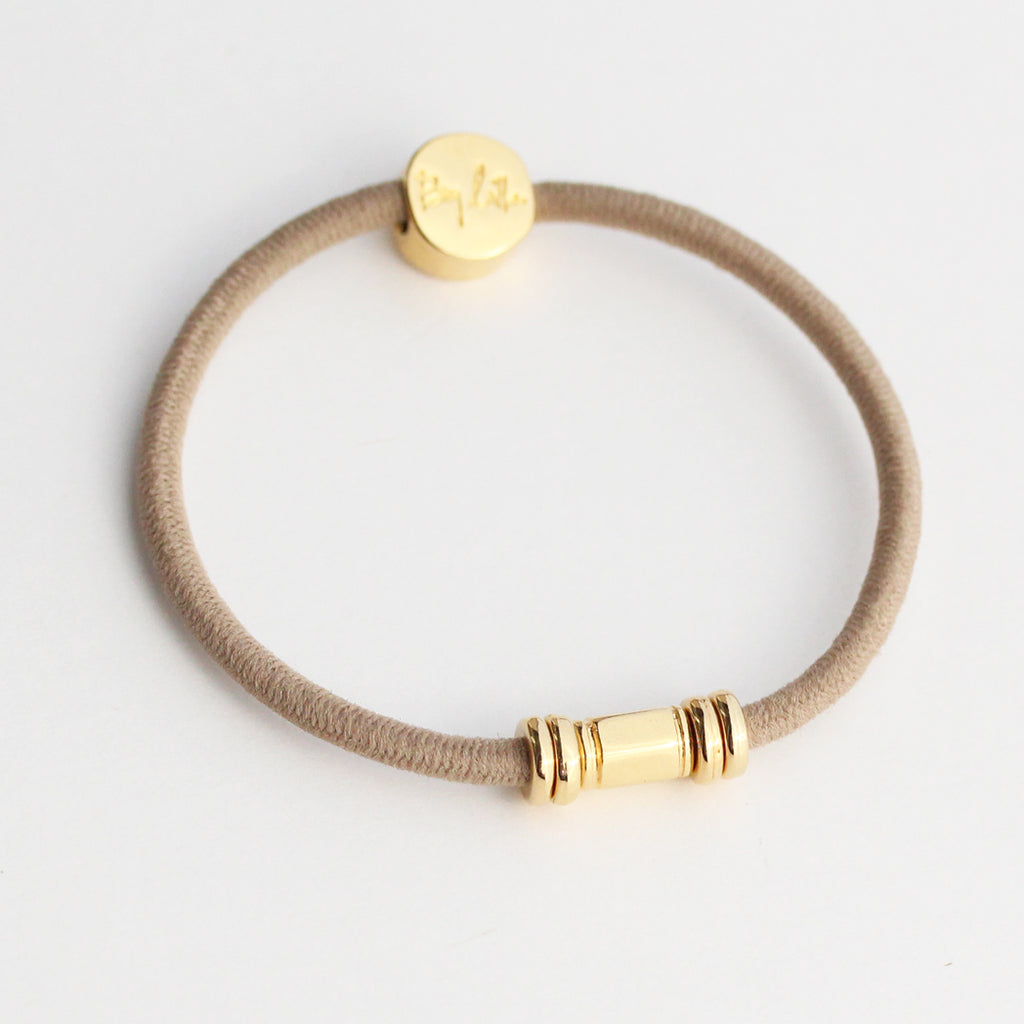 Gold Barre Hair Tie Bracelet Taupe