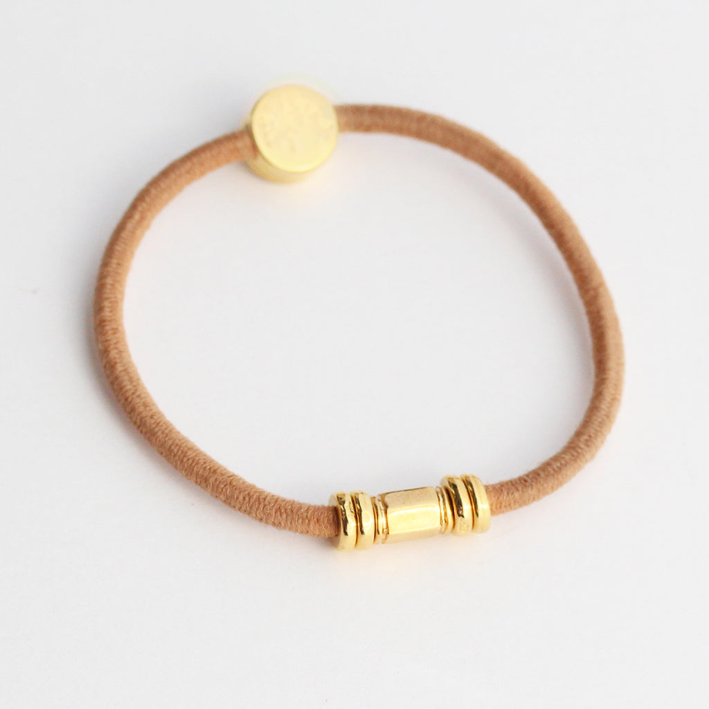 Gold Barre Hair Tie Bracelet Tan