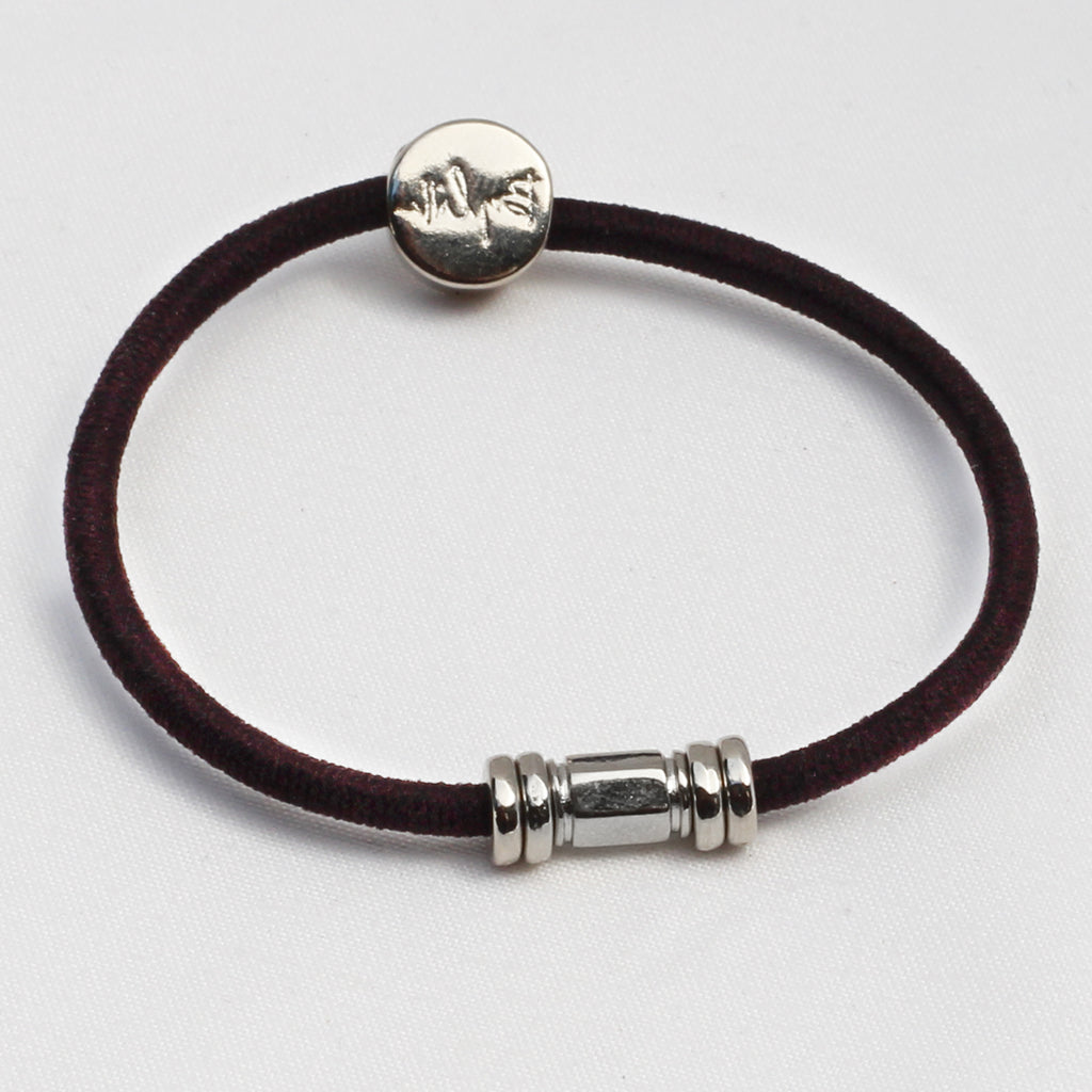 Silver Barre Hair Tie Bracelet Chocolate