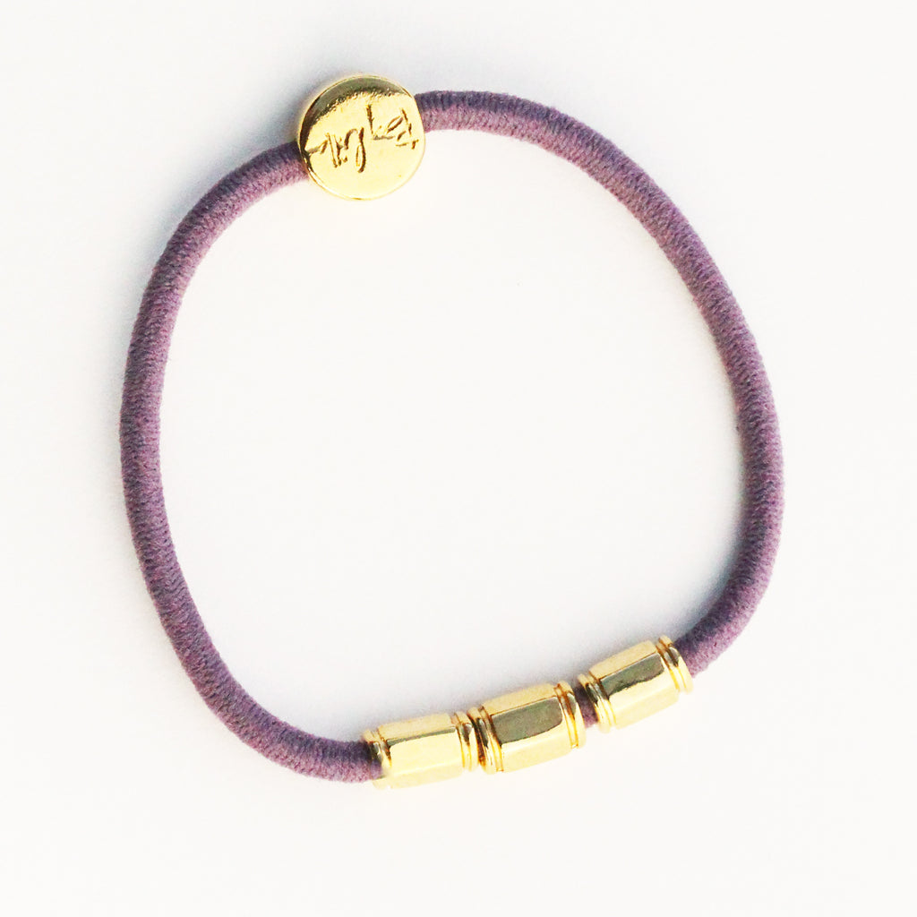 Gold Tri-Barre Hair-Tie Bracelet Purple