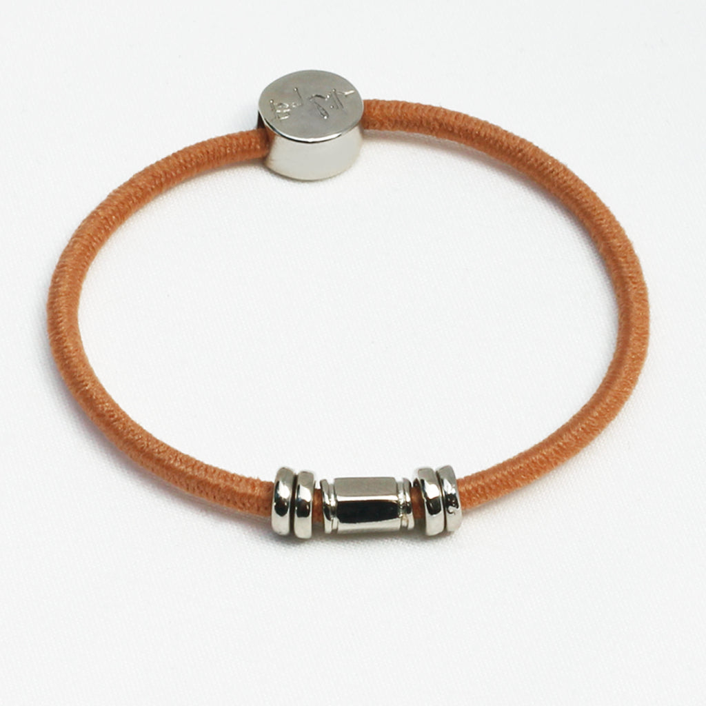 Silver Barre Hair Tie Bracelet Tan