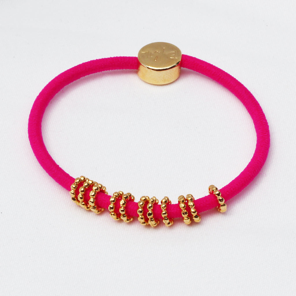 Gold Beaded Hair-Tie Bracelet Hot Pink