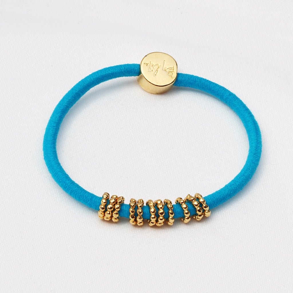 Gold Beaded Hair-Tie Bracelet Teal Blue