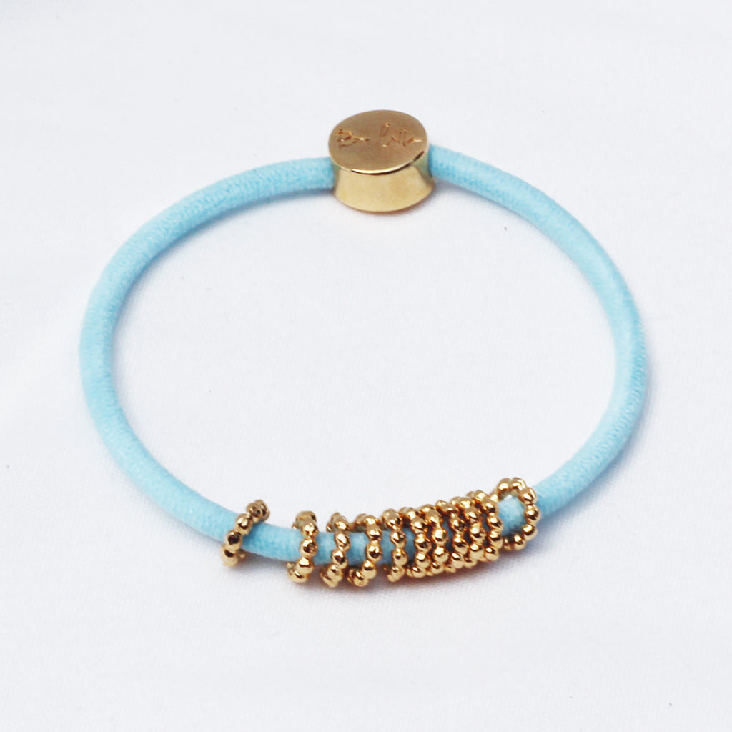 Gold Beaded Hair-Tie Bracelet Sky Blue
