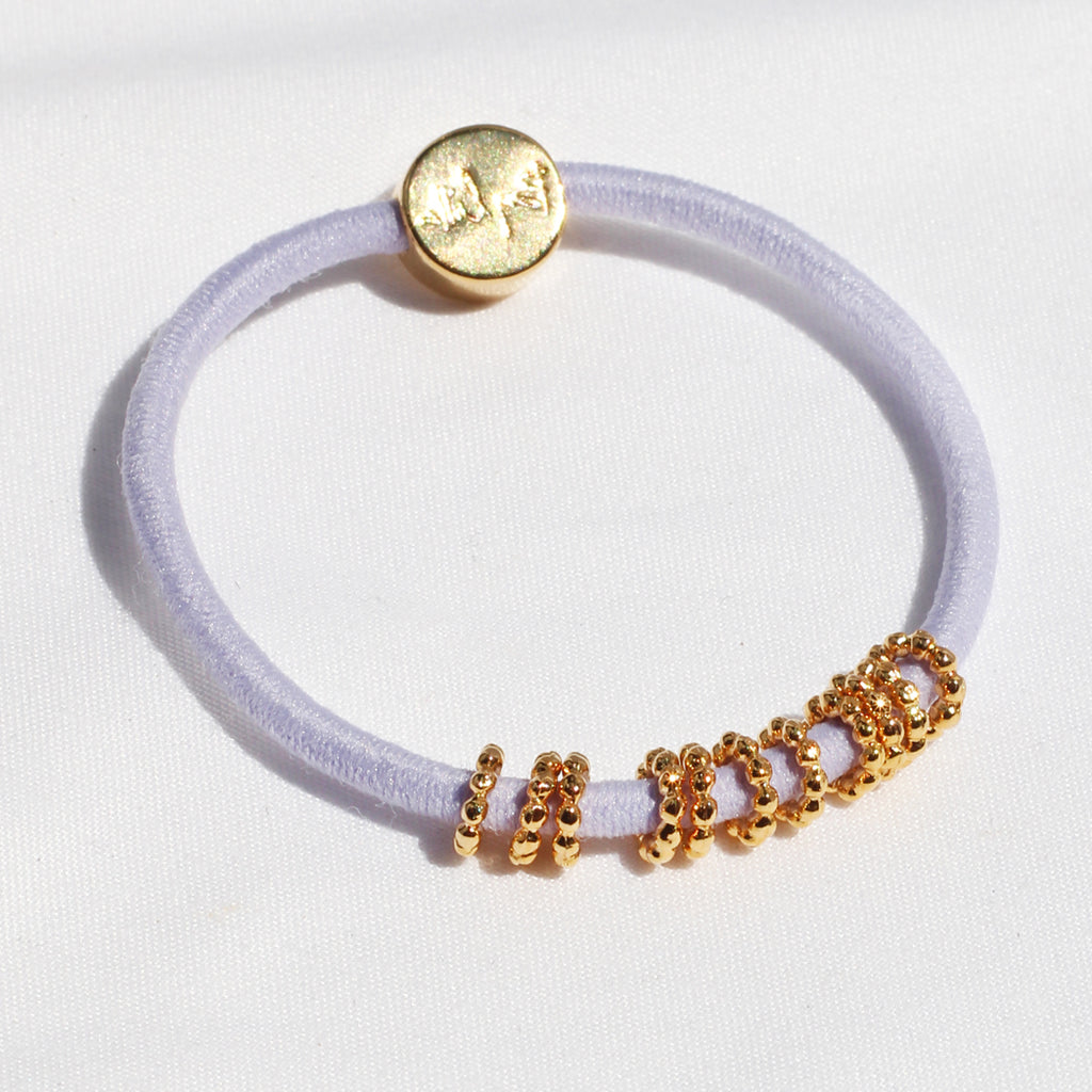 Gold Beaded Hair-Tie Bracelet Lavender