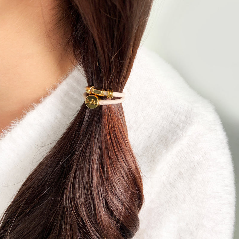 Gold Barrel Hair Tie Bracelet Blush