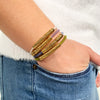 Gold Disc Hair-Tie Bracelet Purple