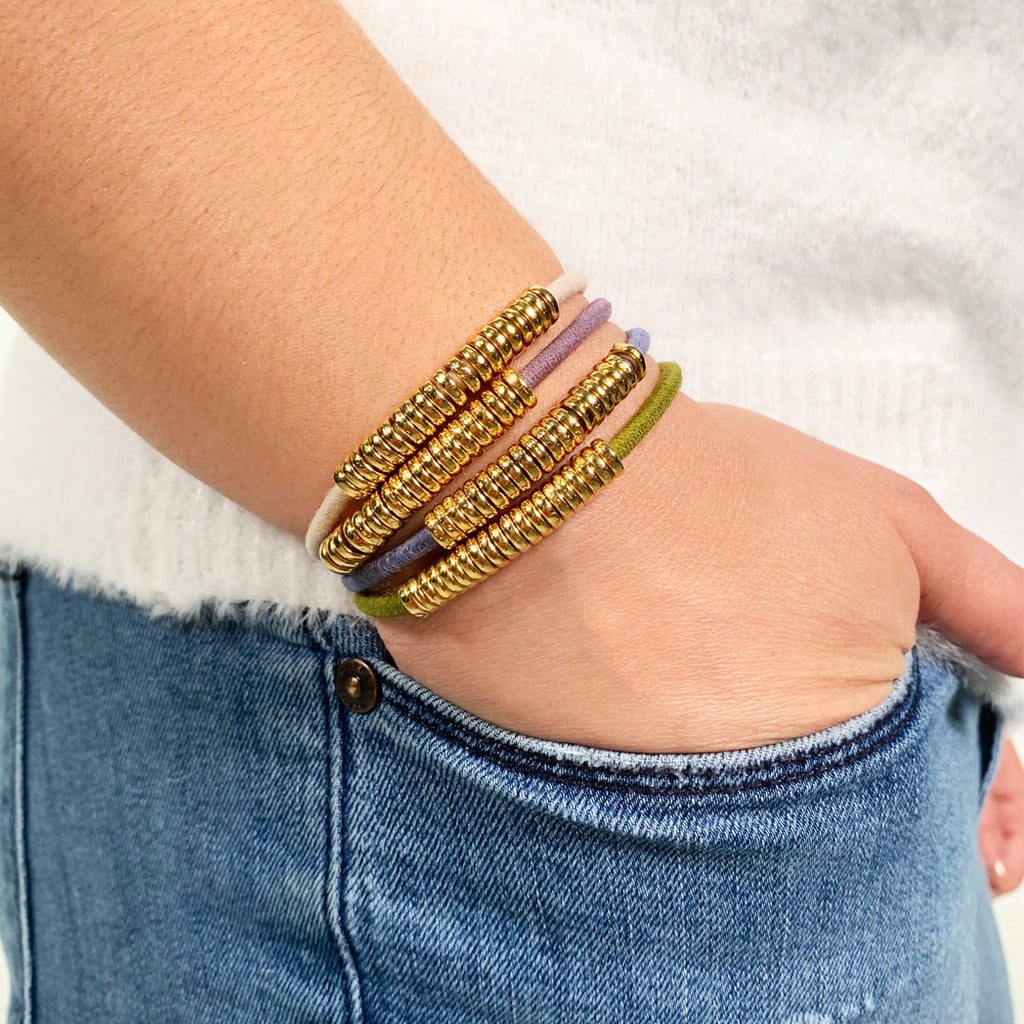 Gold Disc Hair-Tie Bracelet Denim