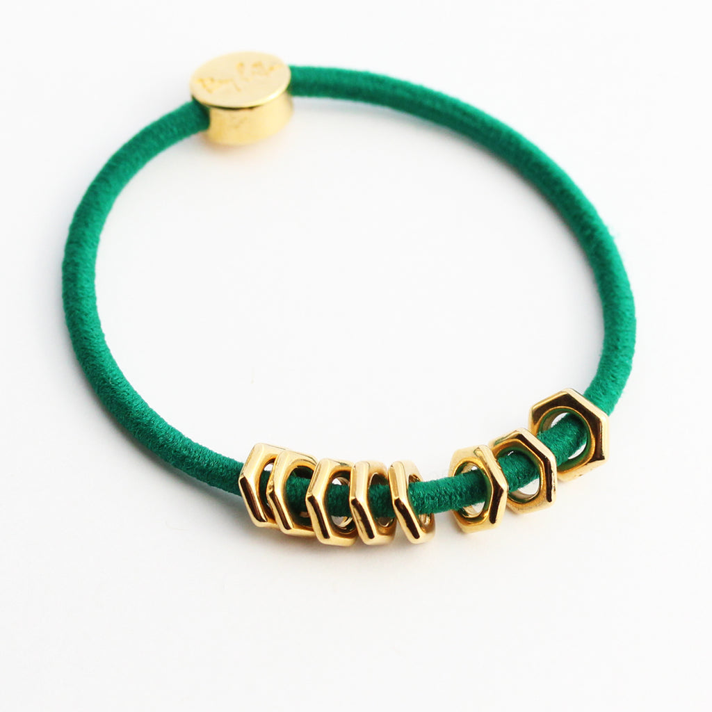 Gold Hex Hair-Tie Bracelet Emerald