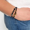Silver Hex Hair Tie Bracelet Black