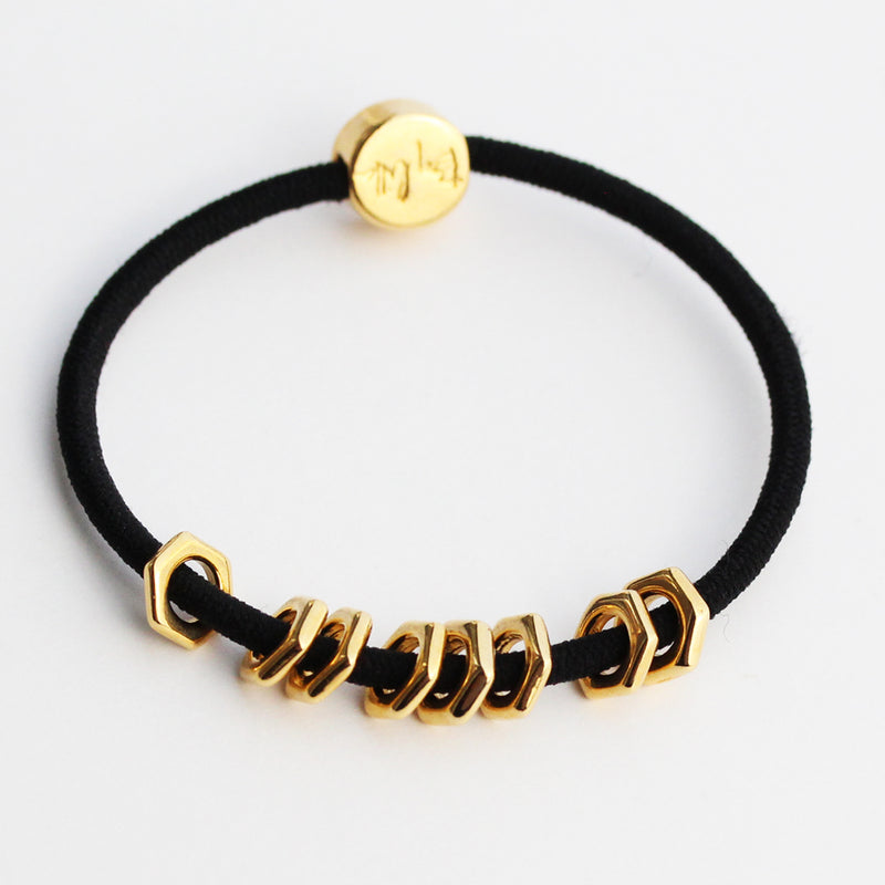 Gold Hex Hair Tie Bracelet Black