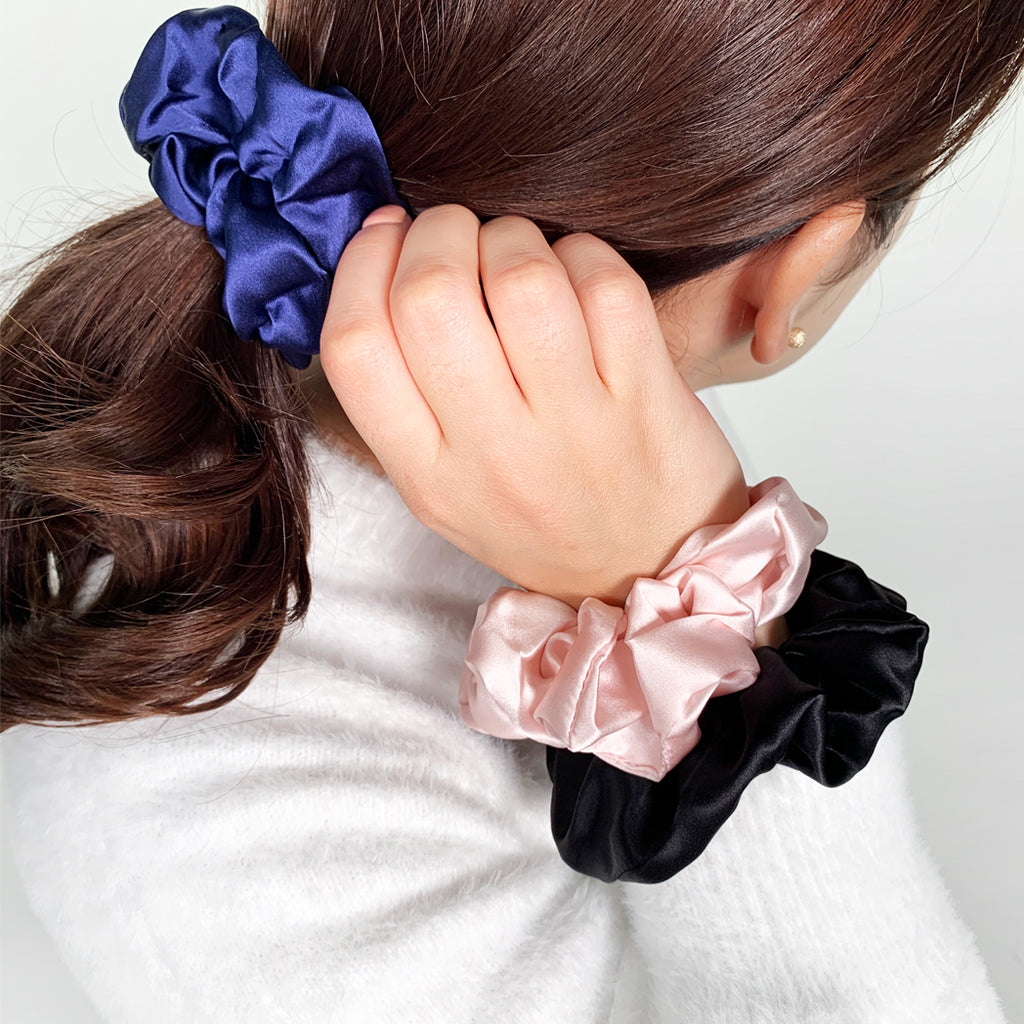 100% Silk Scrunchie Black