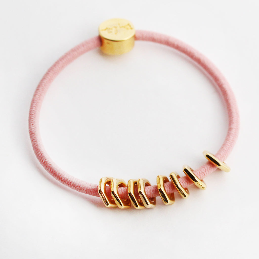 Gold Hex Hair-Tie Bracelet Pink