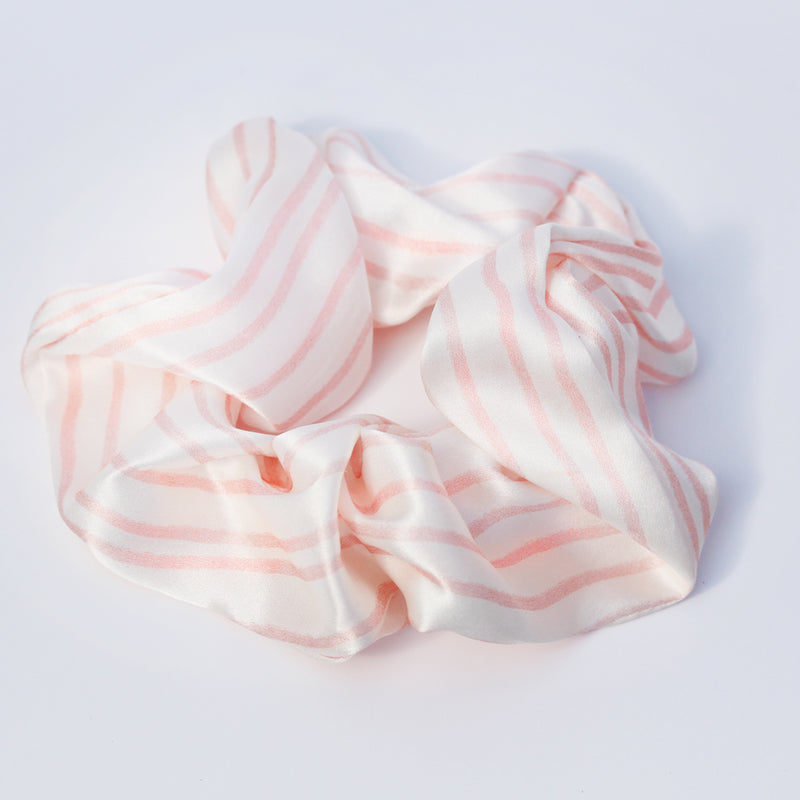 100% Silk Scrunchie Pink Stripe