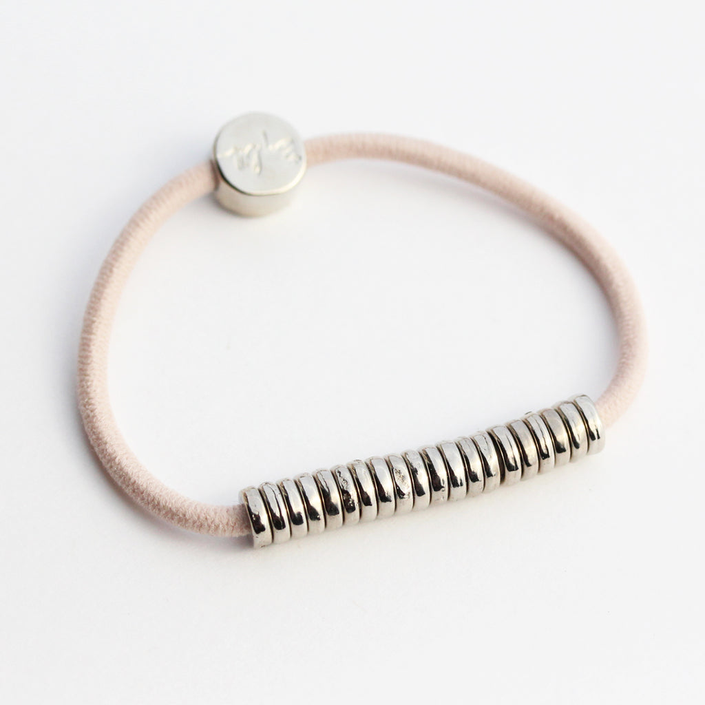 Silver Disc Hair-Tie Bracelet Blush