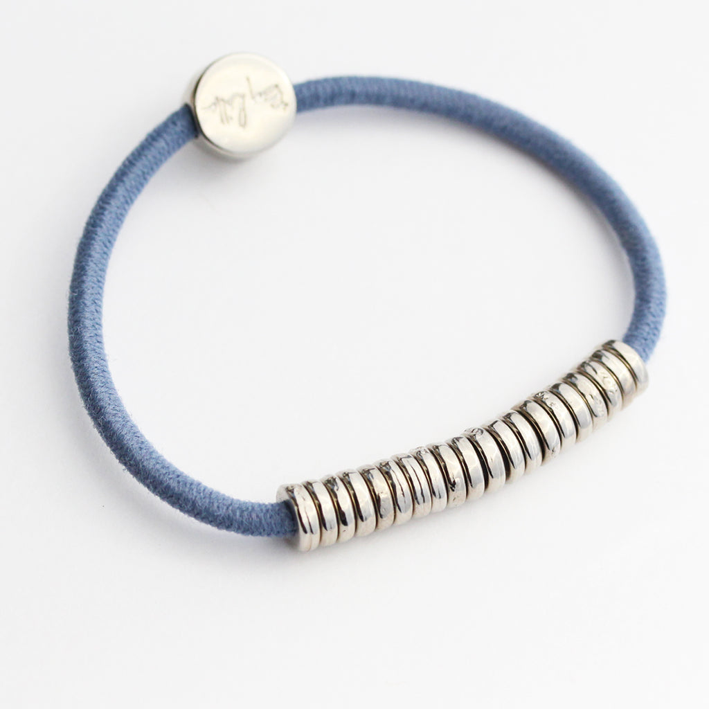 Silver Disc Hair-Tie Bracelet Denim