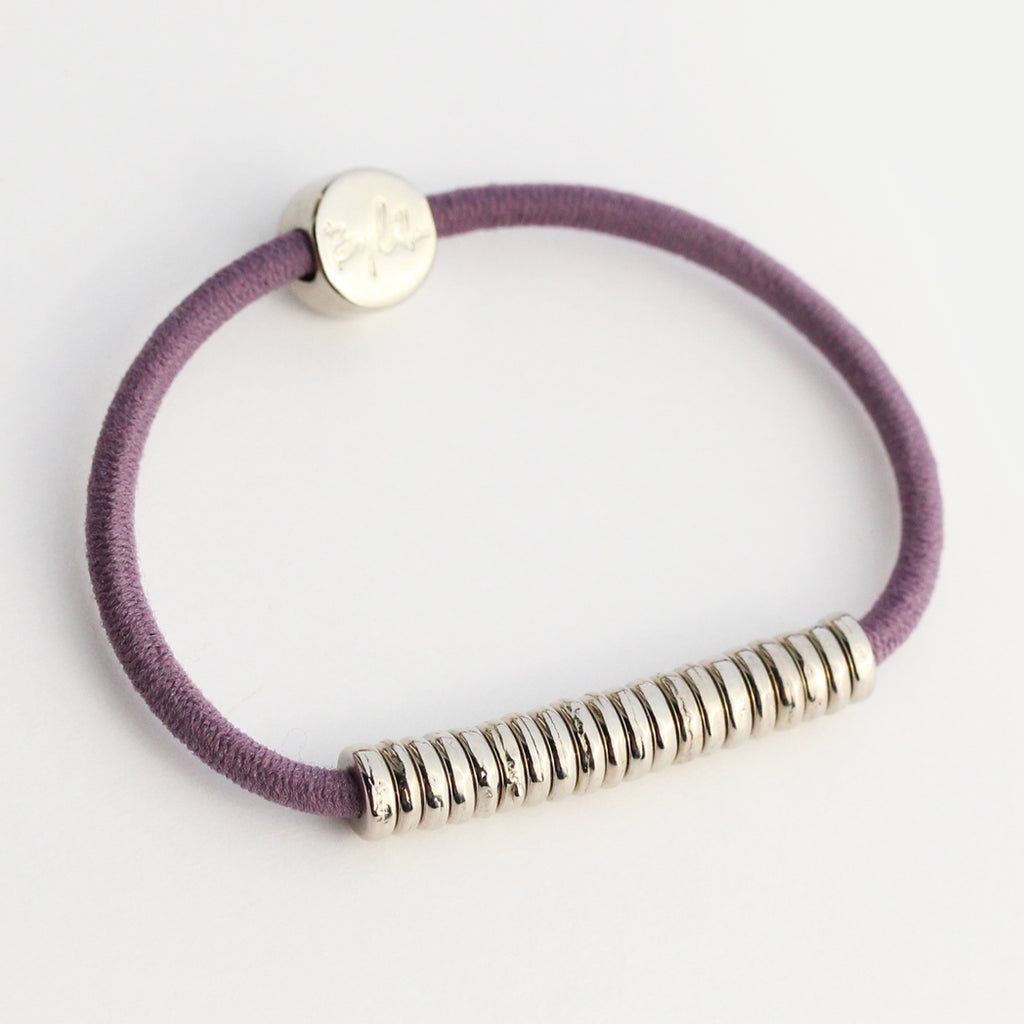 Silver Disc Hair-Tie Bracelet Purple
