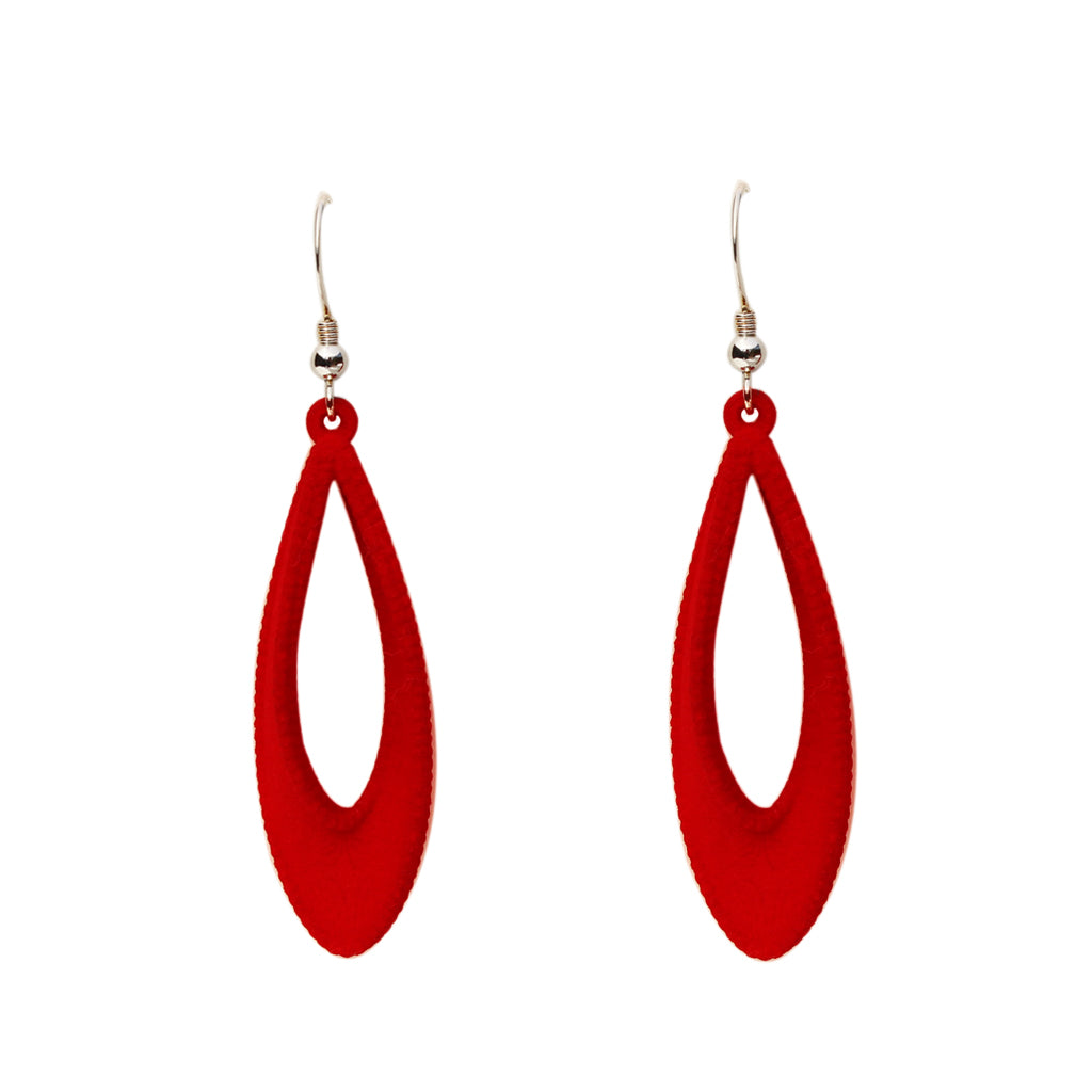 Mobius 3-D Printed Earrings Crimson