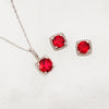 Lab-Grown Ruby and Diamond Halo Necklace