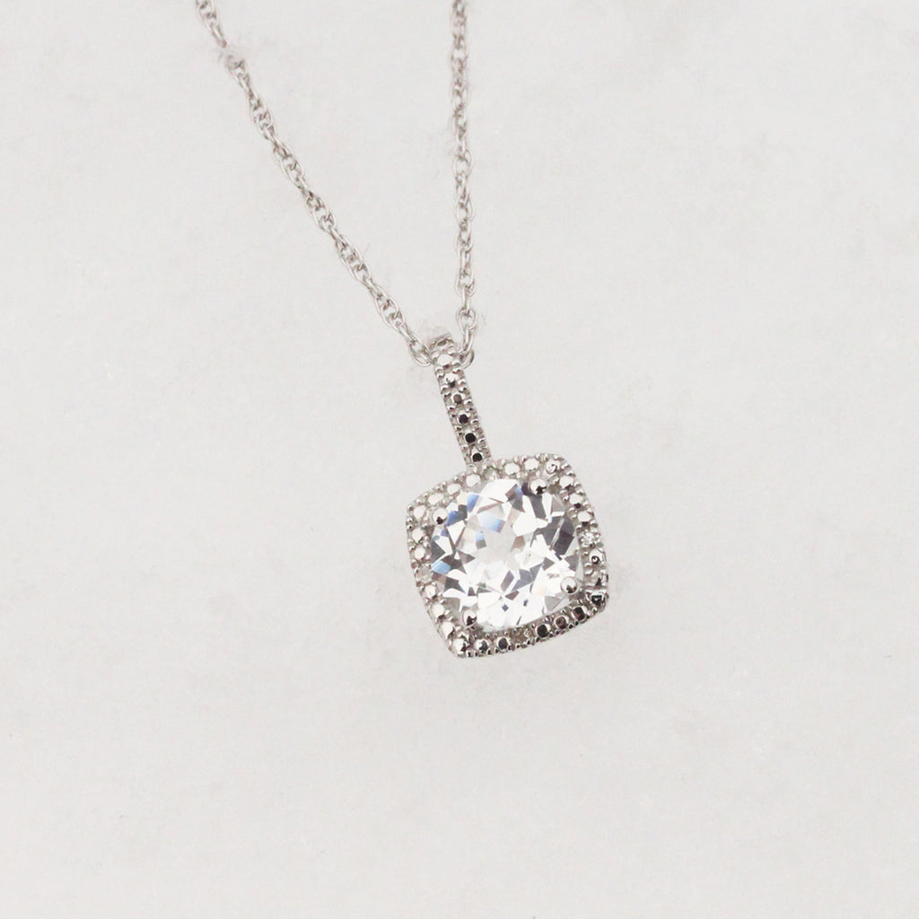 Lab-Grown White Sapphire and Diamond Necklace