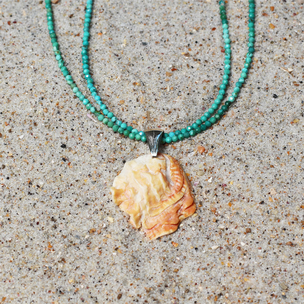 Siren Seashell and Turquoise Necklace