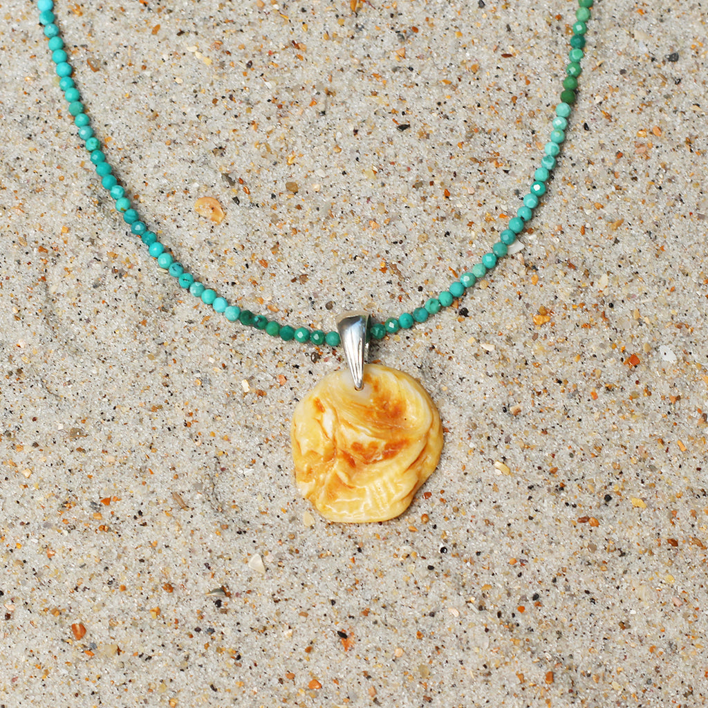 Petite Siren Seashell and Turquoise Necklace