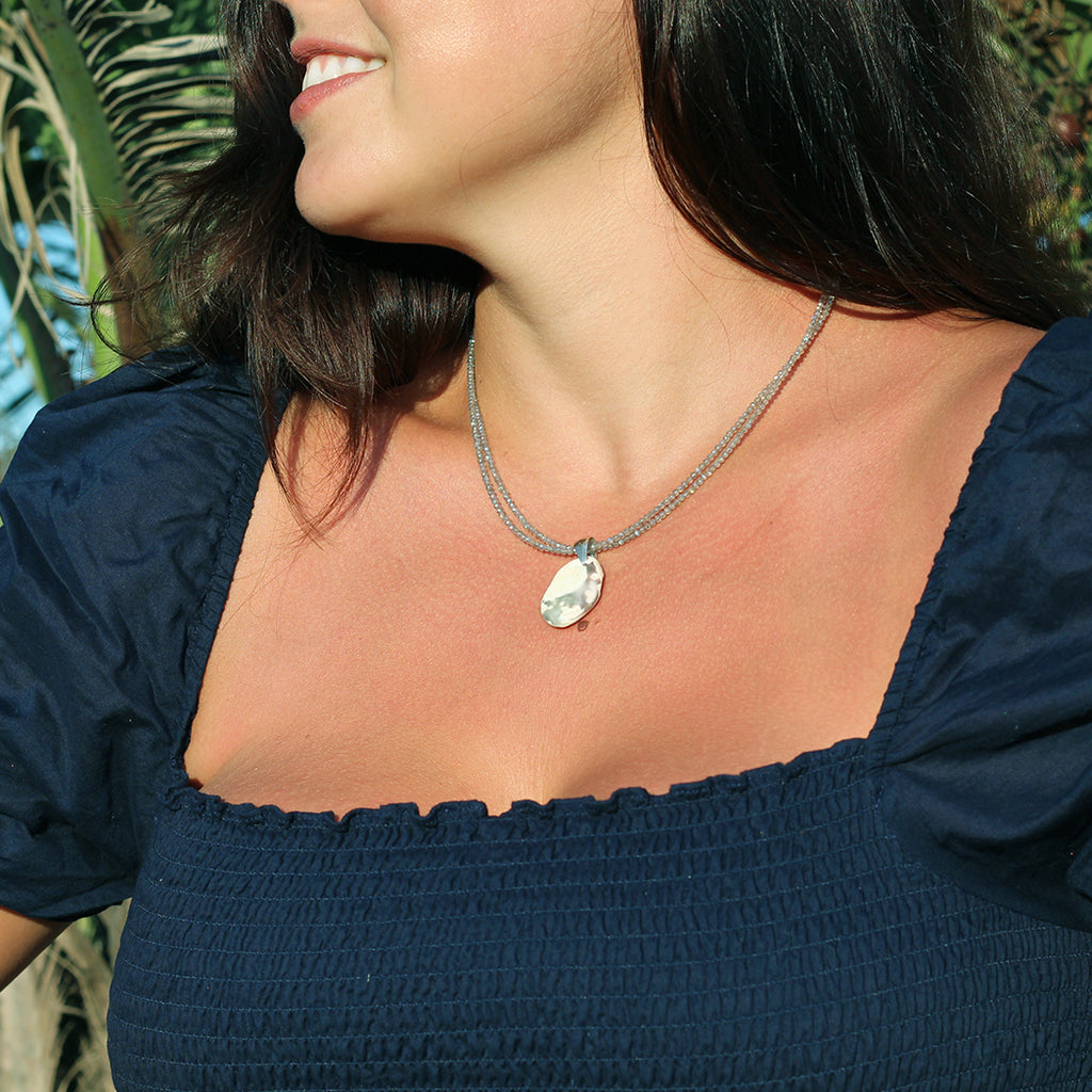 Calixta Labradorite and Seashell Necklace