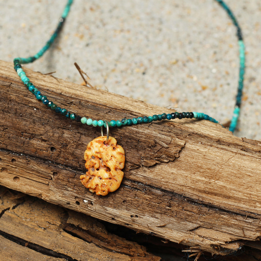 Sandy Isla Ombré Turquoise and Seashell Necklace