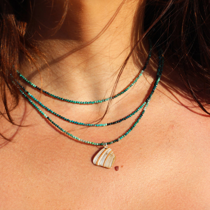 Banded Isla Ombré Turquoise and Seashell Necklace