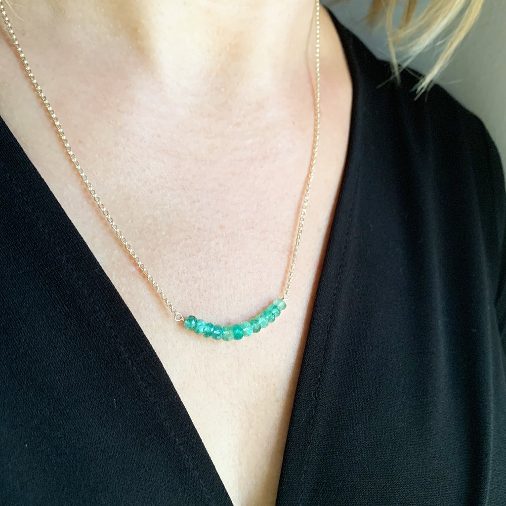 Ivy Emerald Bar Necklace
