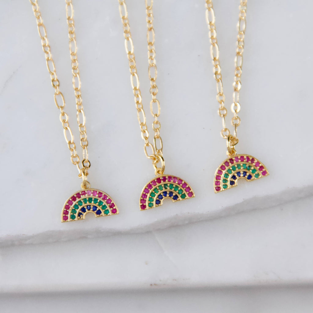 Micro Pavé Rainbow Necklace