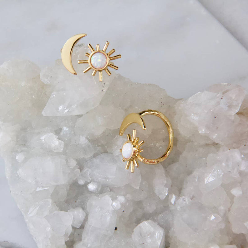 Rani Opal Sun and Moon Ring Gold