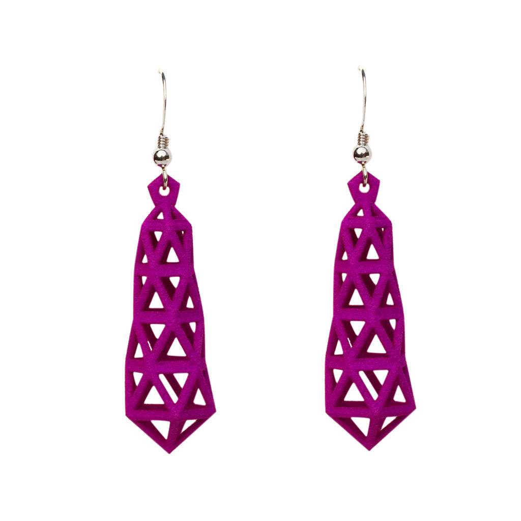 Truss 3-D Printed Earrings Purple