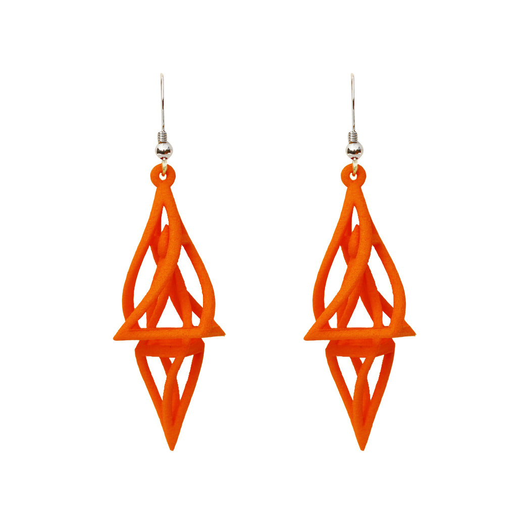 Twist 3-D Printed Earrings Orange