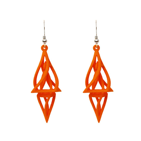 Mobius 3-D Printed Earrings Blue