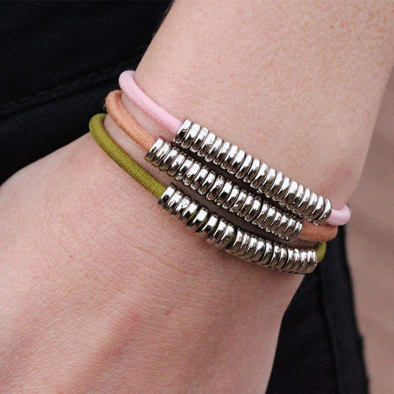 Natural Hair Tie Bracelet Silver Olive