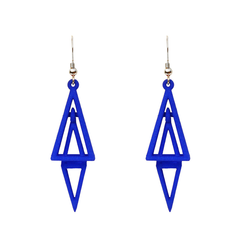 Pyramid 3-D Printed Earrings Blue