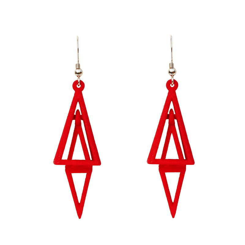 Pyramid 3-D Printed Earrings Crimson