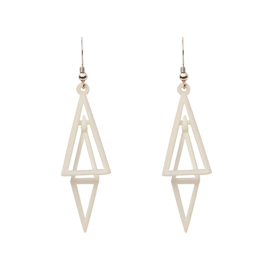 Pyramid 3D Printed Earrings White