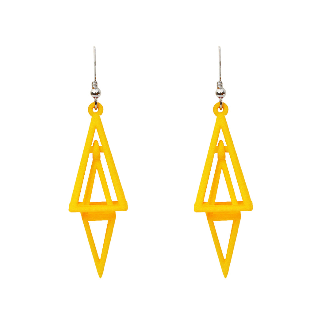 Pyramid 3D Printed Earrings Yellow
