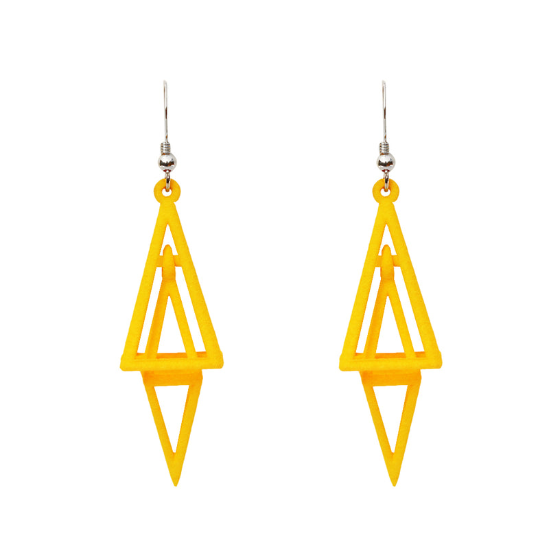 Pyramid 3-D Printed Earrings Yellow