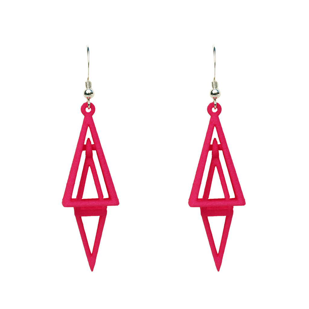 Pyramid 3-D Printed Earrings Pink