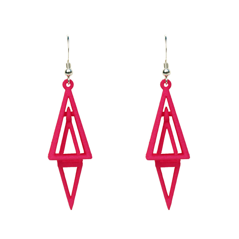 Pyramid 3D Printed Earrings Pink